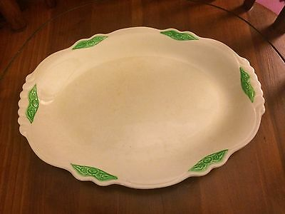 "Homer Laughlin  Serving Platter 11 3/8"", Ivory with Green Trim"