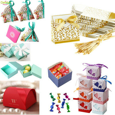 100pcs Wedding Engagement Birthday Party Cake Candy Favor Gift Boxes Pack