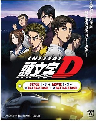 Anime DVD INITIAL D STAGE 1 - 6 +2 BATTLE STAGE + 2 EXTRA STAGES + 3 MOVIES New