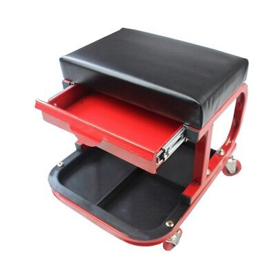New Rolling Creeper Cushion Seat Tool Tray Drawer Stool Car Van Repairing Equips