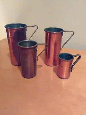 Vintage Copper Plated & Brass Measuring Cups