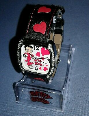 Betty Boop Hearst Crystal Watch Black Leather