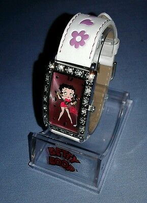 Betty Boop Hearst Watch White Leather Crystal