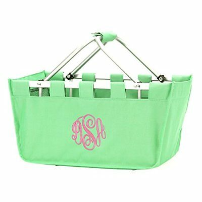 Solid Reusable Shopping Market Tote Basket Craft Sewing Organizer Mint, New