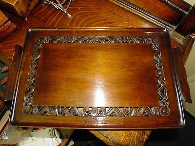 19th Century Chinese Hardwood Tray Carved With Dragons