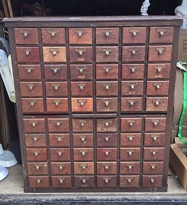 Vintage Antique Oak 60 Drawer Apothecary File Cabinet