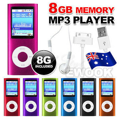 "1.8"" LCD 8GB MP3 MP4 Player Music Media FM Radio Video 4th USB 2.0 with Earphone"