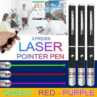 1mW 3 x Laser Pen Green + Purple + Red High Beam Powerful Pointer 3 Color Units