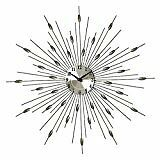 Chrome Starburst Wall Clock With Oval Decorative Pieces