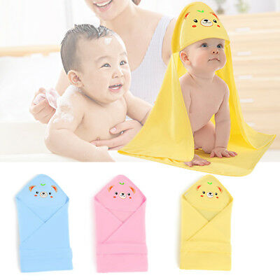 Newborn Baby Boy Girls Cotton Sleep Blanket Cartoon Pattern Bath Towel With Hat
