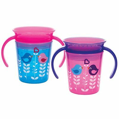 Munchkin Miracle 360 Trainer Cup Pink/Blue 2 Count Baby Drinkware, New
