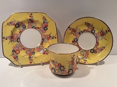 Rare Carlton Ware Art Deco Trio With Hand Enamelled Floral Design