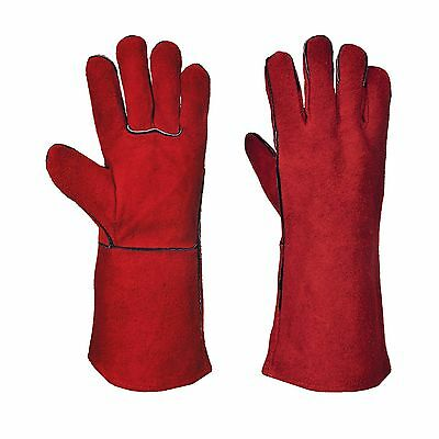 Portwest Welders Welding Fully Lined Red XL Gauntlet Leather Work Gloves A500