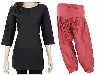 COMBO PACK Indian Ethnic Cotton Women's Kurti with Front Button & Patiala