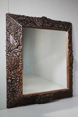 Large 19th Century Black Forest Antique Wanut Carved Mirror.