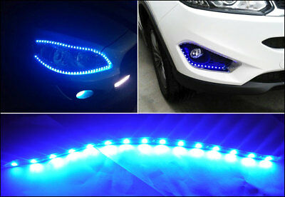 12x Blue 15-LED 30CM Waterproof Car Motor Flexible Decorate Light Strip Bar 12V