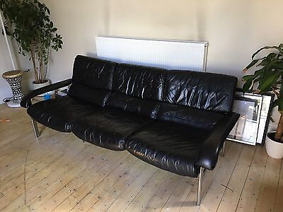 Pieff Sofa Black Leather & Chrome