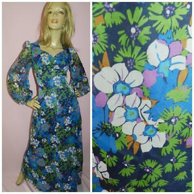 70s FLOATY BALLOON SLVD FLOWER POWER PRINT MAXI DRESS 10 S 1970s VINTAGE