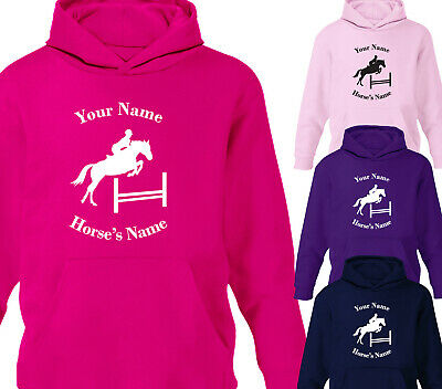 Kids Personalised Horse Riding Show Jumping Girls Hoodie Hoody Gift Ages 1-12