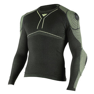 Dainese D-Core Armor LS Black / Fluo Yellow Motorbike Tee Base Layer | All Sizes