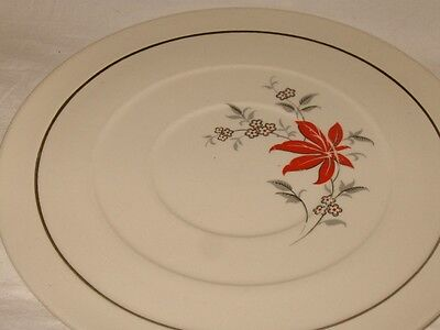 HARKER POTTERY Red Gray .Flower CAKE CHOP PLATE  Rings VINTAGE