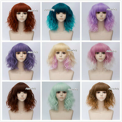Part Lolita Neat Bang Ombre Medium Curly Hair Women Cosplay Wig Heat Resistant