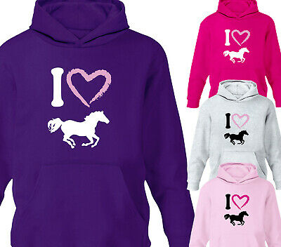 Girls I Heart Horses Horse Riding Hoodie Kids Childrens Hoody Gift Ages 1-12