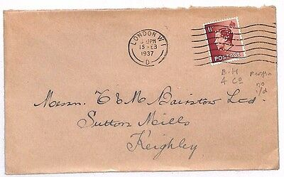 JJ6 1937 GB KEVIII PERFIN COVER London Env Sutton Mills Yorks {samwells-covers}