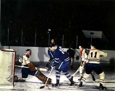 Jaques Plante, Bert Omstead F.Mahovlich Game Auction Unsigned 8x10 Photo