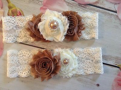 Country rustic couture Bridal wedding garter set- handmade- new