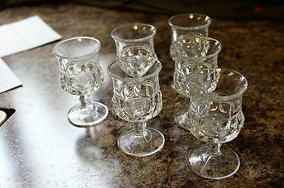 6 Vintage Mid Century Kings Crown Thumb Print Clear Cordial Wine Footed Glasses