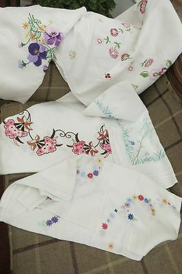 5 Vintage  linen embroidered table cloths