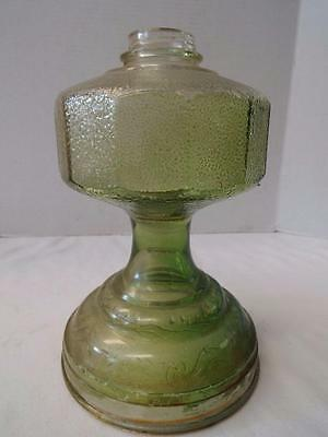 "Vintage Green Glass Kerosene Oil Lamp Base 9.5"" Tall"