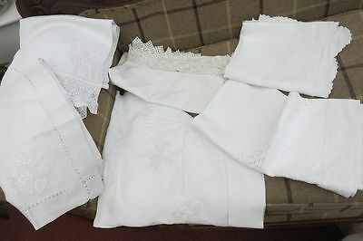 6 Vintage  white linen embroidered table cloths