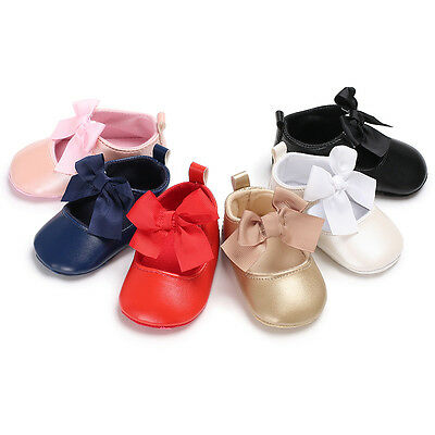 Newborn Baby Girl Mary Jane Bowknot First Shoes Infant Princess Crib Shoes 0-18M
