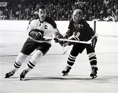 Jean Beliveau with Bobby Hull Montreal Chicago Auction 8x10 Photo