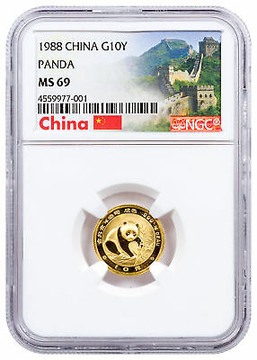1988 China 1/10 oz Gold Panda ¥10 Coin NGC MS69 (Exclusive China Label) SKU29023