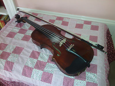 Antique 1897 V.C. Squier Violin and Brasil bow w/case-One piece back tiger maple