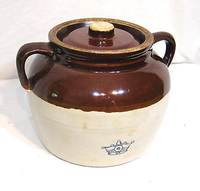 Vintage 1920-1940's Robinson Ransbottom Two Handled #4 Bean Crock - Made in USA
