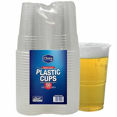 50 Disposable Clear Strong Plastic Pint Beer Glasses Party Drinking Cups