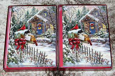 LEANIN TREE Cardinals at Mailbox Winter Holiday Scene~20 total Christmas cards