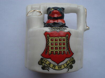 C1920S Vintage Arcadian China Black Cat Coming Out Of Well With A Harwich Crest