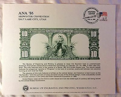 """BUREAU OF ENGRAVING ANA Cat# B88 CURRENCY Souvenir Card 1986 81/2"""" by 10"""" #15"""