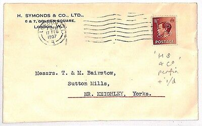 JJ30 1937 GB KEVIII PERFIN COVER *H.S.& Co.* London Identity {samwells-covers}