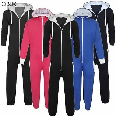 KIDS BOYS GIRLS HOODED ONESIE ALL IN ONE JUMPSUIT PLAYSUIT 7-14 YEARS not gerber