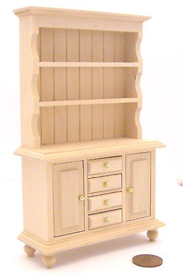 1:12 Scale Natural Finish Wooden Welsh Dresser Kitchen Dolls House Miniature 063