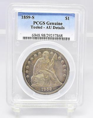 1859-S Liberty Seated Dollar - PCGS Genuine - AU Details (#7796)