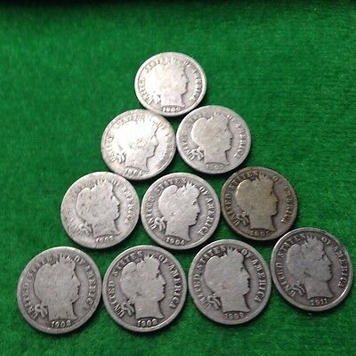 Barber Dimes. Lot of 10 Different.