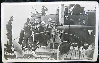 "WWl Real Photo ""On Board U.S.S. Rumpler, Ready For the Subs"", VG"