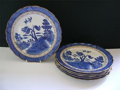 """Lovely Set of 6 Plates in  """" Real Old Willow """" Design by Booths."""